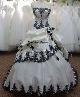 New Luxury White and Black Embroidery Wedding Dress Bridal Gown Custom
