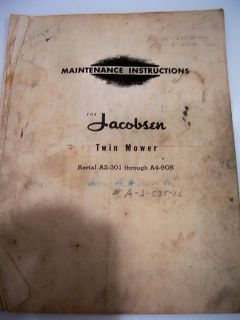 VINTAGE JACOBSEN MAINTENANCE AND PARTS LIST FOR THE TWIN MOWER A2 301
