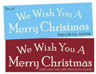STENCIL We Wish You Merry Christmas Shabby Vintage style font