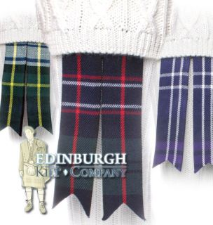 SCOTTISH KILT HOSE / SOCK FLASHES   CHOICE OF TARTANS TO MATCH YOUR
