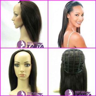 28 16 indian remy human hair half wig weft cap clip on 613#, 1#, 1b#