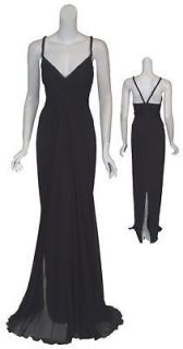 MARCHESA Fit Flare Black Silk Beaded Dress Gown 10 NEW