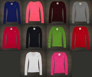NWT HOLLISTER Abercrombie Womens Salt Creek Tee V Neck Long Sleeve T