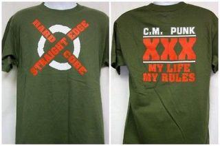 cm punk straight edge hardcode olive green t shirt new