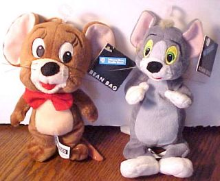WARNER BROS SET 2 TOM & JERRY MOUSE CAT PLUSH TOY BEANBAGS W/ TAGS
