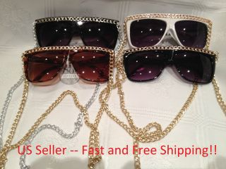 SNOOKI SUNGLASS Chains Lady Gaga Jersey Shore Gold Silver NEW Free