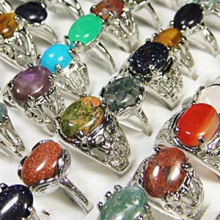 New wholesale jewelry lots 10pcs natural stone silver plated rings