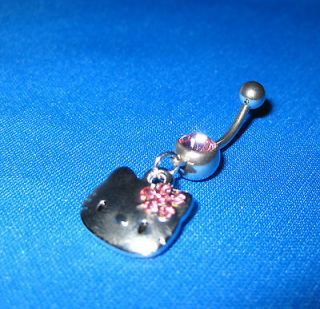 1A32 Belly Ring Hello Kitty Pink Rhinestone Navel Body Piercing
