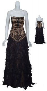 WONG Stunning Black Strapless Beaded Glam FEATHER Gown Dress 10 NEW