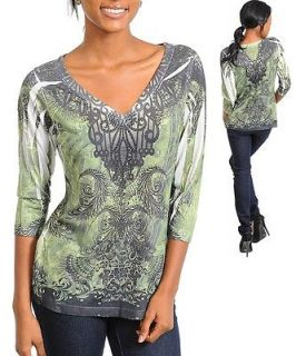 NWT LOVE LIFE LIVE GREEN EMBELLISHED TOP SIZE L✿