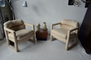 Pair Mid Century Modern Club Chairs Milo Baughman probber by Drexel