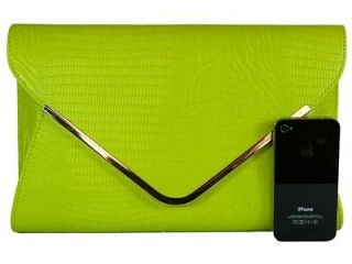 Large Lime Green Leather Style Snakeskin Clutch Bag Evening Bag Snake