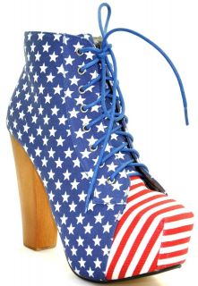 NEW WOMENS AMERICAN FLAG LACE UP BLOCK HEELS CONCEALED ANKLE BOOTS