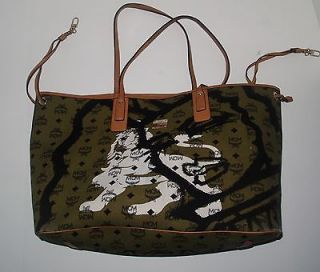 NEW MCM ARMY GREEN PATRICIA REVERSABLE LARGE TOTE WITH LEATHER MUST