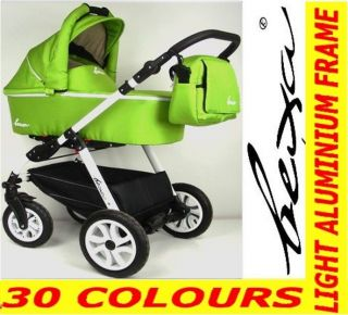 BEXA FASHION 3in1 TRAVEL SYSTEM PRAM PUSHCHAIR CAR SEAT AIR WHEELS 30