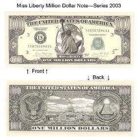 1,000,000 1 Million Dollars Bill Notes 2 for $1.25 gift