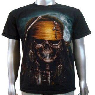 Pirate Skull Cross Bones Jack Sparrow Sword Pistol Tattoo Mens T Shirt