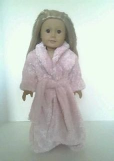 Plush Pink Robe with Butterfly Slippers for American Girl Dolls Just