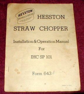 Hessto IHC SP 101 Straw Chopper Installation & Operation Manual