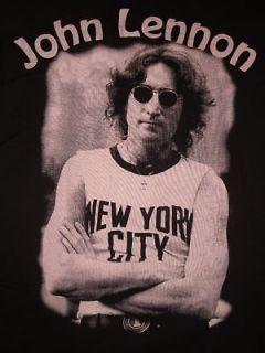 John Lennon NYC T shirt Womens Juniors Tee SzM Blk New