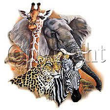 african collage t shirt gift novelty wildlife animal ld expedited