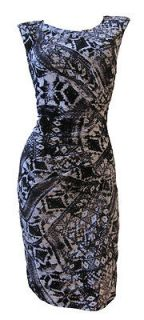 Black Grey Graphic Print Mesh Shift Dress Kathleen Size 14 New