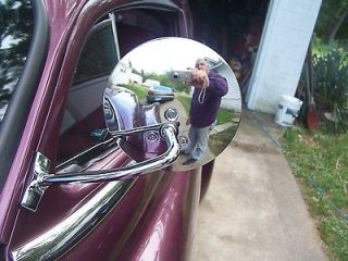 SIDE VIEW MIRROR ROUND CLAMP ON FOR HOT ROD RAT ROD CUSTOM ROD
