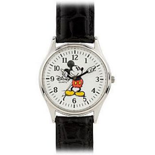 new mickey mouse mens watch chrome black leather expedited shipping