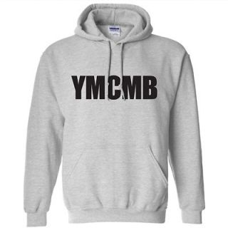 YMCMB HOODIE YOUNG MONEY LIL WEEZY WAYNE SHIRT GRAY W/BLACK LETTERING