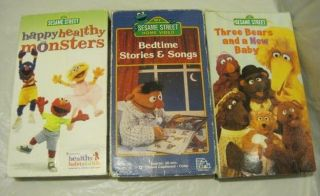 of 3~Sesame Street videos~Happy Healthy Bedtime New Baby~VHS~LBDDV​E