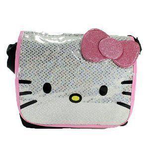 NEW Sanrio Hello Kitty White and Pink Glitter Messenger Bag tote
