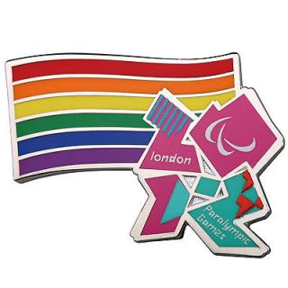 Official Product London 2012 Paralympic Logo wih Rainbow Flag Pin