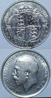 GREAT BRITAIN KING GEORGE V STERLING SILVER HALF CROWN 1916 SPINK 4011