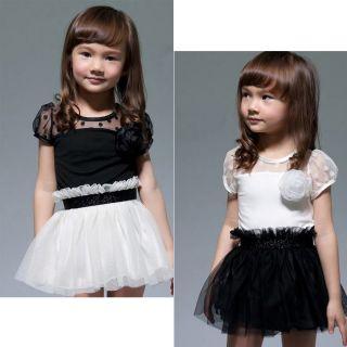 New Kids Toddlers Girls White/Black Flower Princess Tutu Mini Dress 2