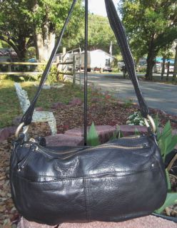 sigrid olsen black leather satchel handbag purse