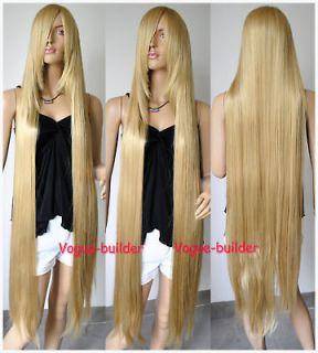 51 long bang gold blonde straight cosplay hair wig 24