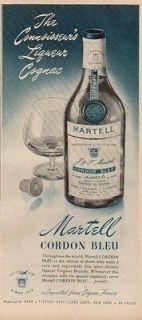1952 Martell Cordon Bleu Cognac Brandy Bottle France Vintage 50s