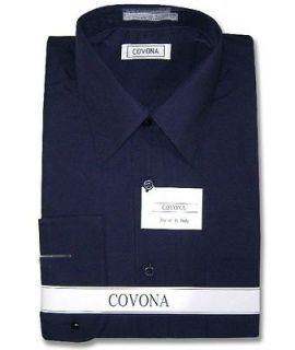 Mens NAVY BLUE Dress Shirt Convertbl Cuffs sz 16 36/37