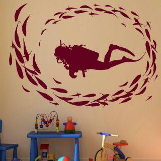 DIVER DEEP SEA DIVING FISH WALL ART DECAL kids vinyl stencil new RA10
