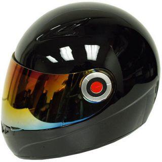 Youth Kids Motorcycle Bike Full FaceHelmet Glossy Black Size S M L XL