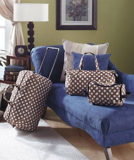 Girls 3 Pc Polka Dots Trendy Luggage Set Rolling Bag Totes Cosmetic