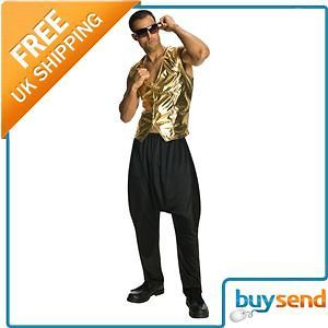 Gold Rapper Mc Hammer Vest 80S 90S Fancy Dress Costume   One Size Fits
