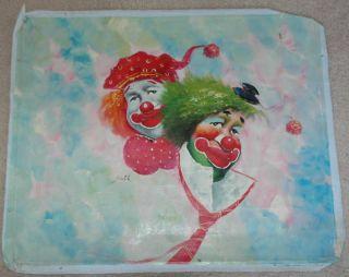 vintage art original oil painting jane clown 24 x20 expedited