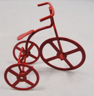 Vtg 2.5 Red Enamel Metal High Wheel Bicycle Tricycle Xmas Ornament or