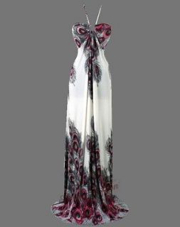 floral printed peacock halter rope maxi dresses 2xl red from