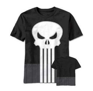 marvel the punisher skull logo cut sew costume t shirt