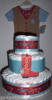 Red/Blue Cowboy Diaper Cake with Onesie   Boy Baby Shower Centerpiece