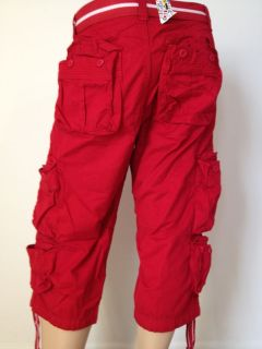 NEW MENS CARGO CAPRI SHORTS SIZES 30,32,34,36,38,40,42 COLOR RED ~8