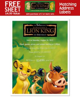 lion king personalized birthday party invitations one day shipping