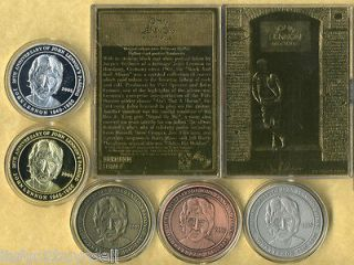 Beatles John Lennon 23 Kt Gold Card Silver Brass Coins Prototype